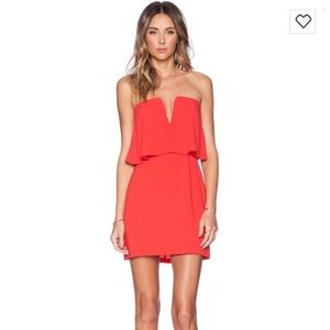 BCBG Kate Strapless Dress in Red Berry